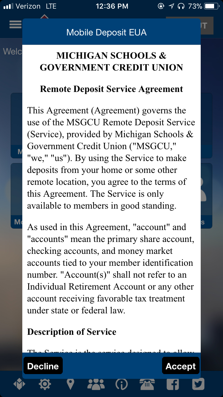 Service Agreement screen
